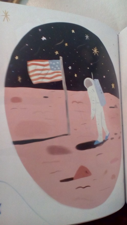 An illustration of the famous scene when our flag was planted on the moon