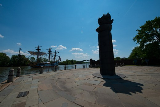 The Kalmar Nyckel is Delaware's Tall Ship. Here in Newcastle, it is behind the monument at Fort Christina. Pirate Fest is special holiday every year.