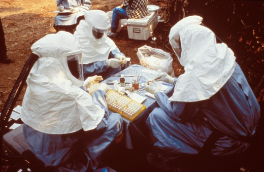 Scientists work with blood samples to study Ebola virus.