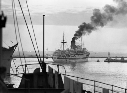 The Hospital Ship Newfoundland.  The Luftwaffe attacked it 3 times.  An Hs-293 heavily damaged it.