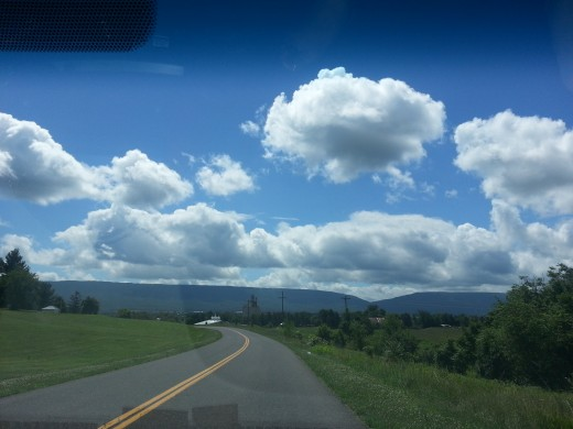 On the road to Shenandoah Caverns.  It is a pleasant drive in the country, July 2013.