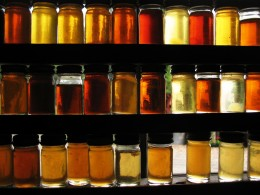 Different grades of maple syrup on display at the Morse Sugar Farm.