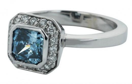 Blue Diamond Square Solitaire Ring
