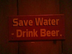 A great bathroom sign for bars, pubs, or taverns.