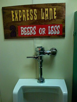 Express lane urinal sign.