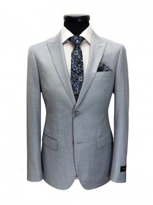 Light grey check two-button slim fit suit