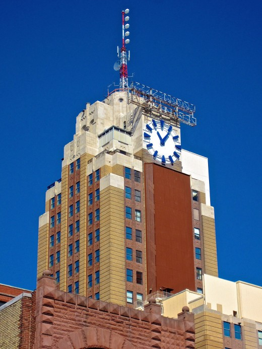The Boji Tower, Lansing's Empire State Building showing unique eastward-facing clock