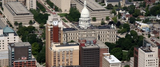 Downtown view showing Boji Tower and State Capitol--such an effective pair