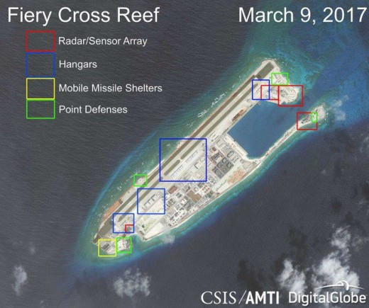 Satellite images show that the works illegally constructed by China on the Cross Reef of Vietnam's Spratly Islands (taken by CSIS on March 9, 2017).