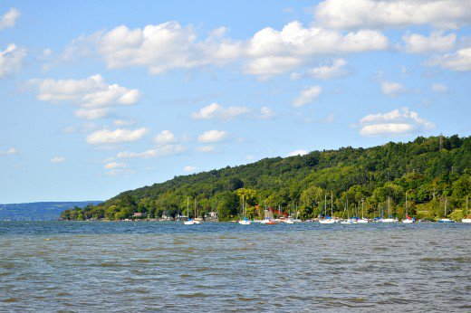 Cayuga Lake dominates the views of Ithaca NY. It is a popular attraction for boaters during good weather.