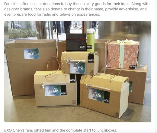 Idols receive extremely expensive gifts from fans. Some even get brand new macbooks, Rolex watches, and Hermes bags.