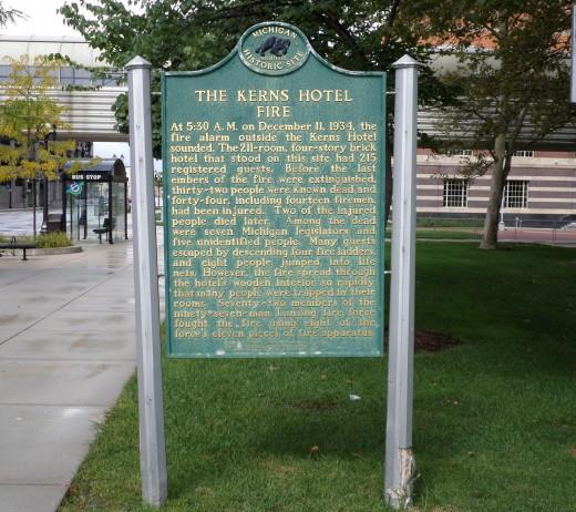 Kerns Hotel fire state historic marker