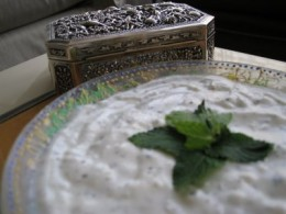 yogurt with mint, spices optional. courtesy Nirvana's Kitchen blog