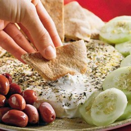 Yogurt as a dip for pita, olives, cucumbers, tomatoes, spices optional
