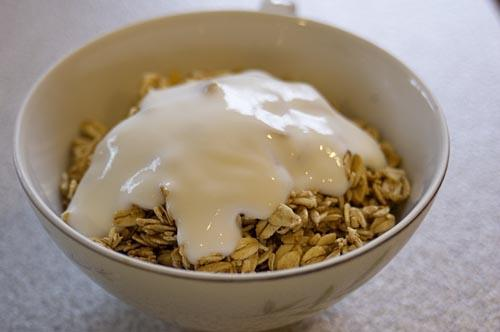 Yogurt with crunchy cereal - honey oat clusters is my personal favorite.