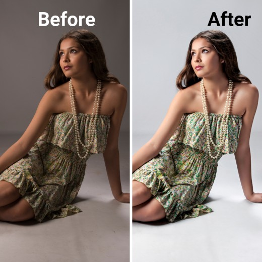 A before and after example of photo editing services.