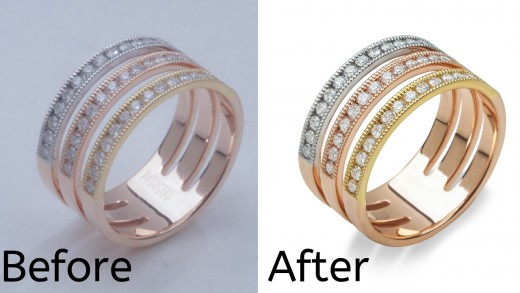 A before and after done by a photo editing service provider.