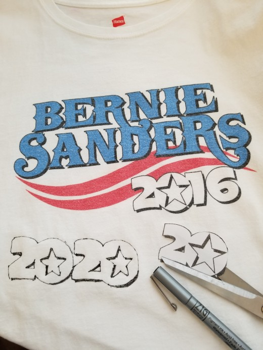 Make a photocopy of the shirt and cut out the paper 2020. Draw around it with a fine-line permanent marker, then fill in the center part by hand.