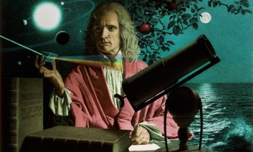 """Isaac Newton, who saw further than Galileo, but only """"by standing on the shoulders of giants"""""""