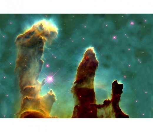 Eagle Nebula, M16,  distant clouds of gases and dust first seen through the Hubble Space Telescope