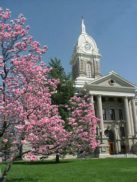 Ingham County Courthouse in Mason in springtime