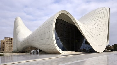 Aliyev Cultural Center, Baku, Azerbaijan--note the signature curve