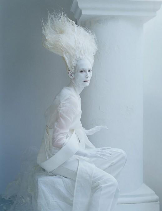 Tilda Swinton in hair by Tim Walker and makeup by Julien-d'Ys.