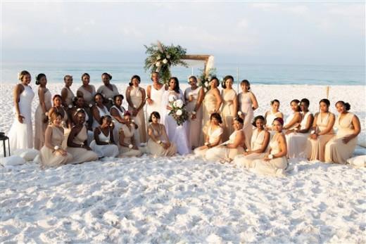 Bride with her 34 bridesmaids