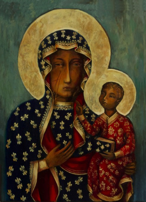 Madonna of Czestochowa:  tradition says this was painted by the Evangelist Luke on a wooden board.