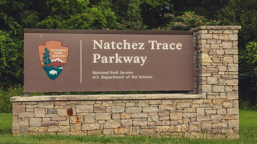 A sign near the southern entrance to the Natchez Trace Parkway, in Natchez, Mississippi.