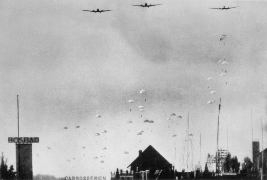 German paratroopers over the Netherlands