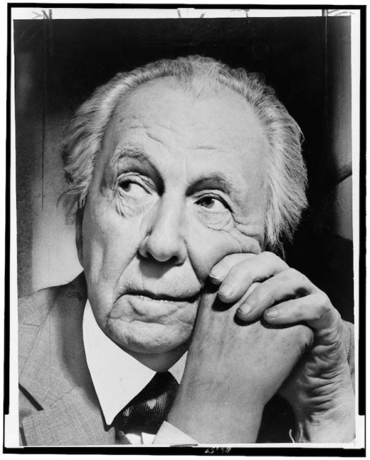 Frank Lloyd Wright, American architect, caught in a pensive mood