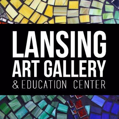 Lansing Art Gallery logo, framed by familiar mosaic tile pattern