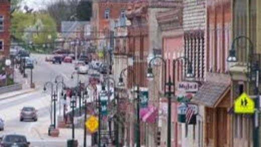 Historic Bridge Street in Grand Ledge, reminiscent of Lansing's Old Town and Mason's courthouse district