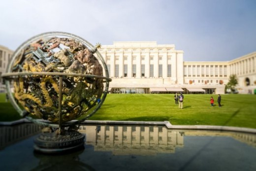 Palais de Nations, Geneva--formerly headquarters of ill-fated League of Nations which failed to prevent WWII