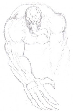 Another venom layout that I messed up on the arm, so I started again.