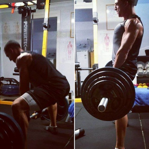 Deadlift to work the legs and back: major force production muscles.