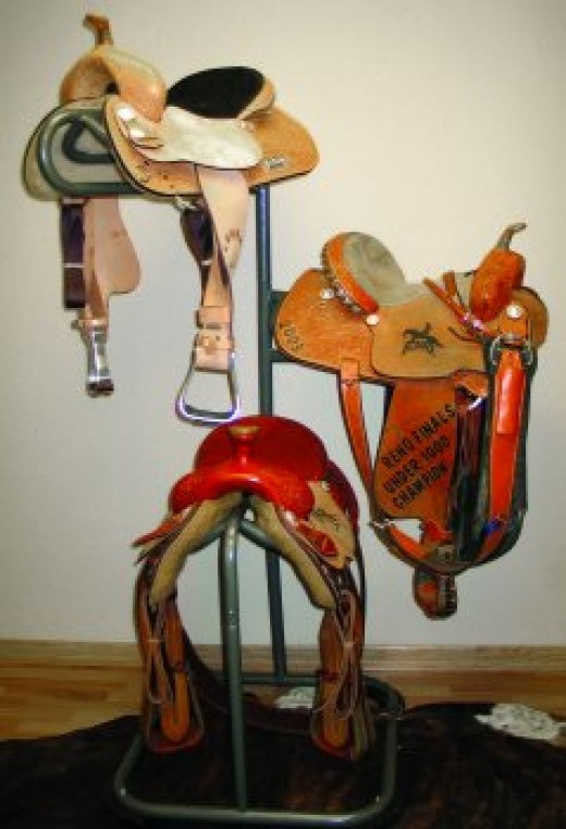 Saddles are the primary horse riding equipment.