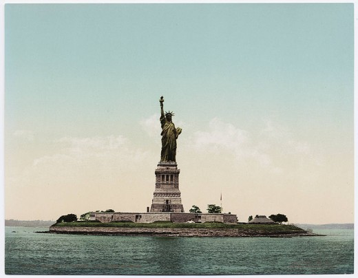 Originally made of Copper, Lady Liberty has turned green over time!