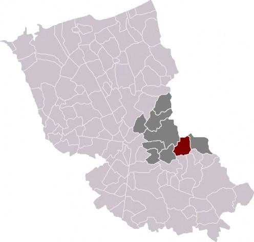 Map location of Godewaersvelde, in Dunkirk 'arrondissement'