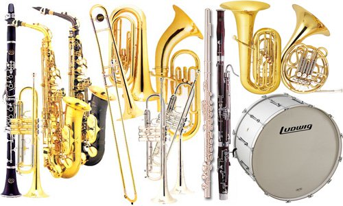 A collection of band instruments