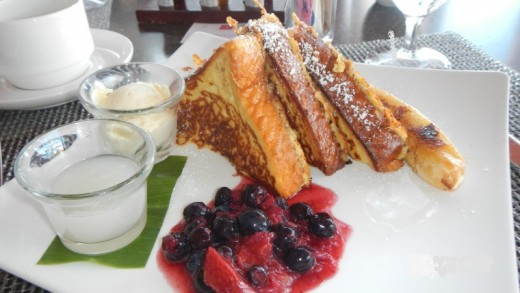French Toast with Berries Drizzled with Coconut Syrup
