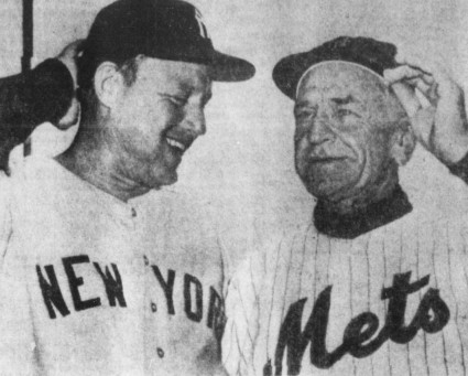 A study in opposites: Yankee manager Ralph Houk and Mets manager Casey Stengel meet before a 1962 exhibition game. The Yankees would go on to win the World Series while the Mets would set the single-season mark for losses.