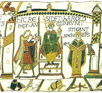 Coronation of king Harold from The Bayeux Tapestry.