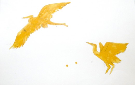 Forgotten masking fluid turns into a hard crusty yellow plastic that will never come off the paper.