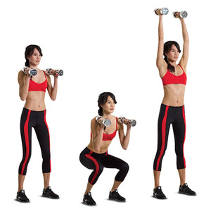 Squat to Overhead Dumbbell Press