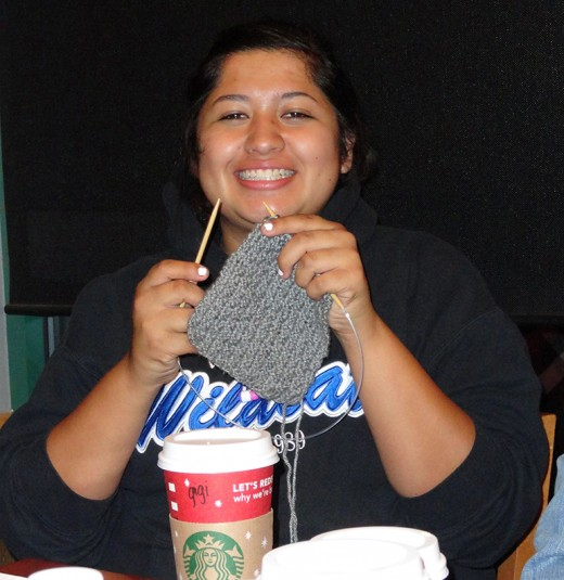 One of my students happily knitting