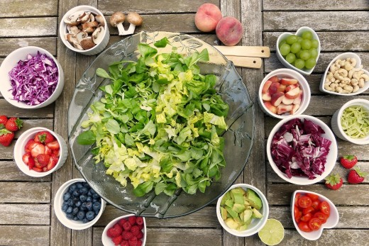 Fruit and vegetable salad on the table.