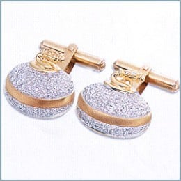 For the man who has everything, how about a set of diamond encrusted 18 karat gold cufflinks? Only $2,500!