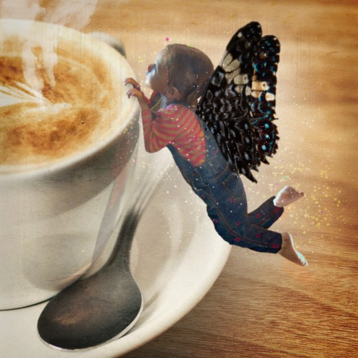 In this photo composite, I cut out my granddaughter and the wings using the Magic Wand Tool, then pasted her over a new background.